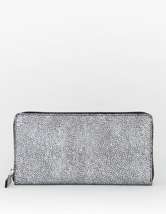ファスナー長財布(カク型 1cm高)カシュー漆革