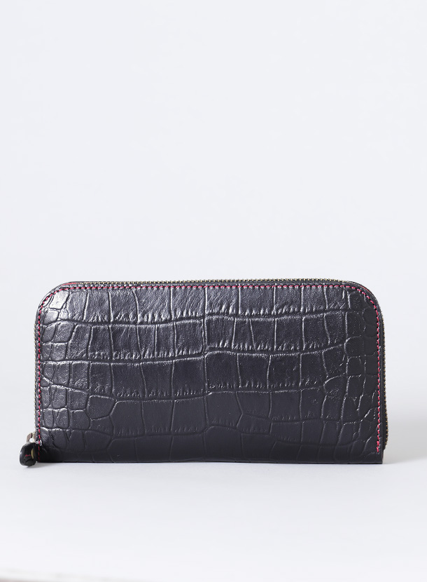 ファスナー長財布 丸型1cm高タイプ クロコ型押し革