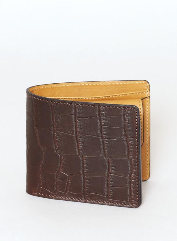二つ折り財布 コインタイプ マットクロコ