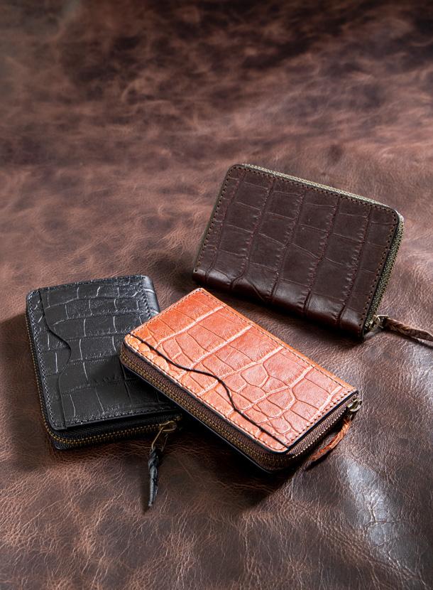 コインケース角型(外ポケット付き)マットクロコ